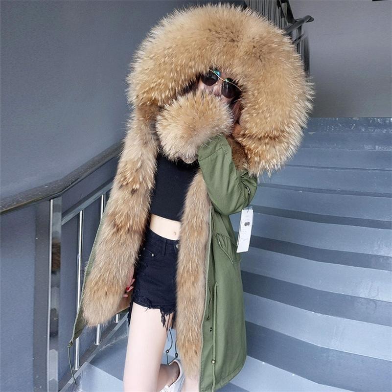 Зимняя женщина настоящая пальто женская куртка воротник Курки Дамска натуральный лис енота для еноты в лайнер с капюшоном Parkas 201212