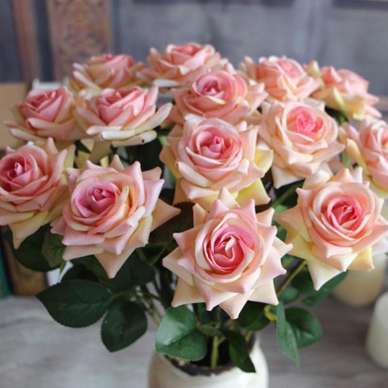 1pc Artificial Rose Fake Plastic Flowers Folha Sala Principal Ramalhete nupcial do partido Decoração de casamento decoração do quarto decoração