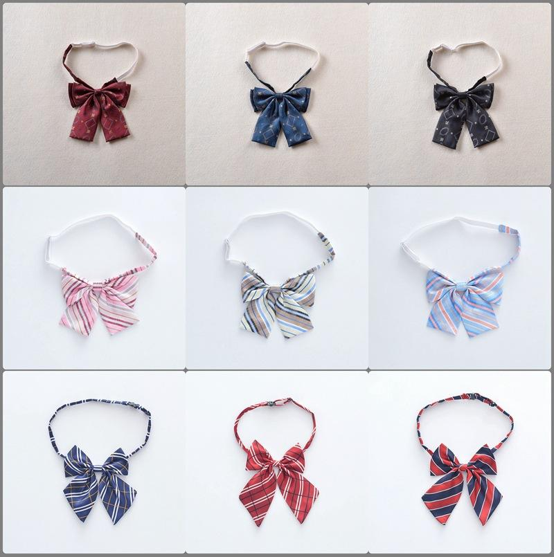 Cute JK Uniform Dress Collar Accessories Bow Tie Student Girls Women Solid Color Striped Plaid Bow Ties Gift