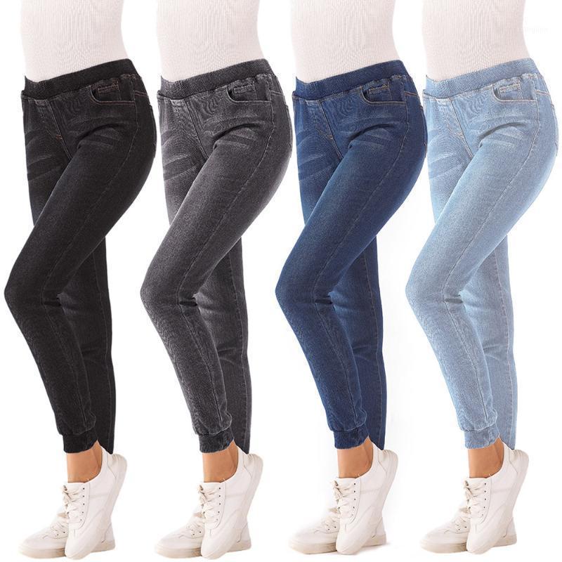 Jeans für Frauen Mom Jeans Mid Taille Frau Hohe elastische Plus Größe Stretch Weibliche Waschen Denim Skinny Bleistift Pants # B1