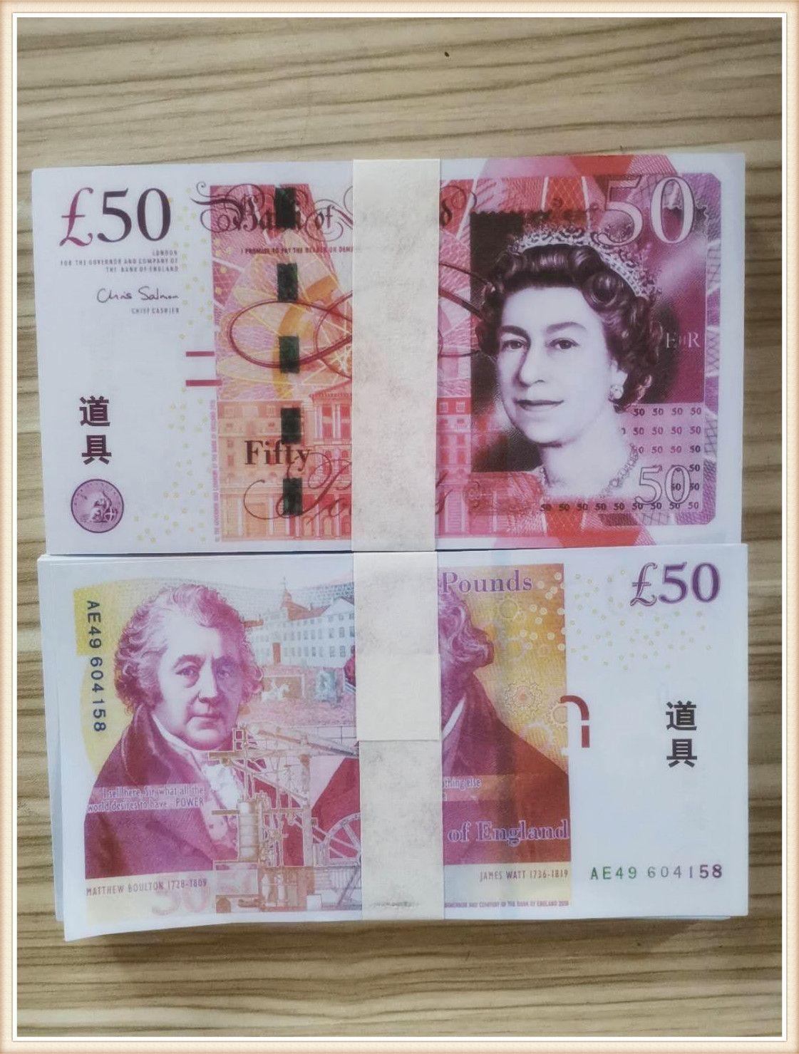 Grenzüberschreitende E-Commerce 50 Pfund Fabrik Verkauf Papiergeld Requisiten Banknoten Spiel Requisiten Papiergeld