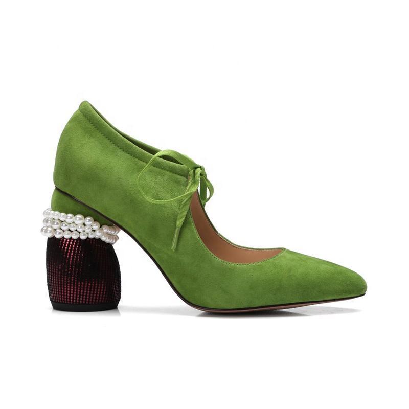 Zapatos de vestir 2021 cuero genuino puntiagudo puntiagudo tacones altos con abalorios novia mary jane mujer bombas
