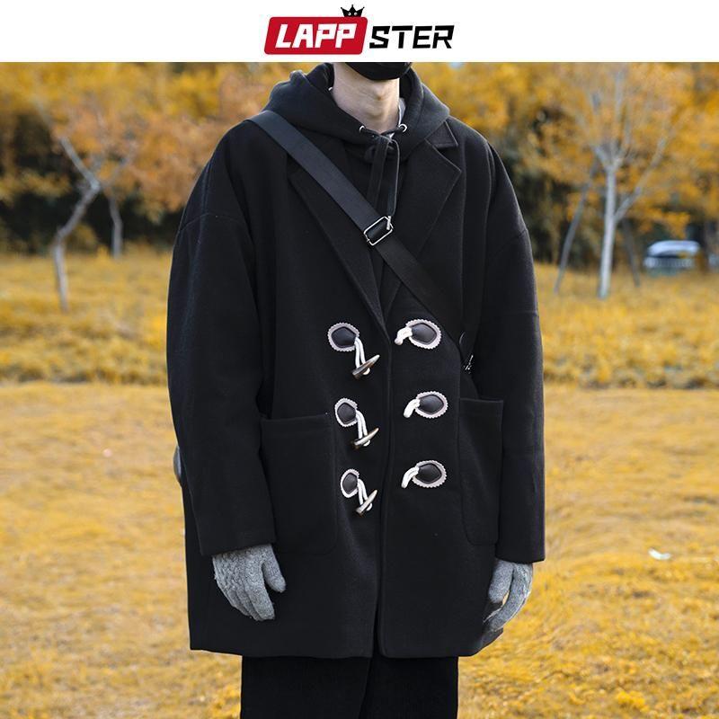 LAPPSTER Winter Beige Trench длинных пальто Мужчина 2020 Людей корейских шерстяное пальто Мужской Flannl Япония Мужской Негабаритные Horn Button Шинель