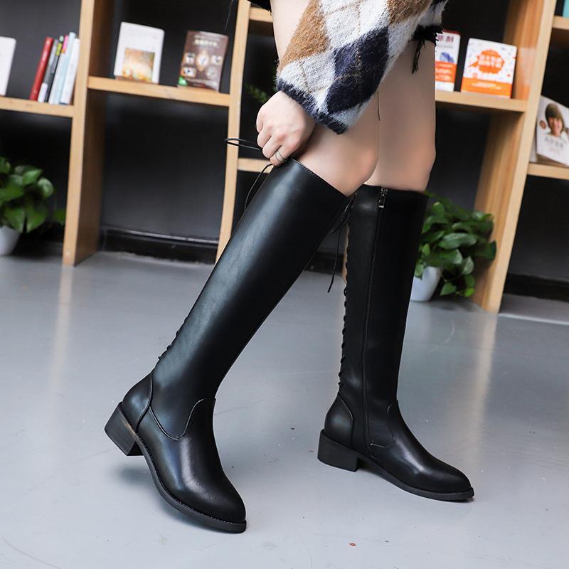 Moda Çapraz bağ Düşük Topuklar Uzun Çizme Kadınlar Sonbahar Kış 2020 PU Deri Diz Yüksek Boots Kadın Siyah Kahverengi Botines
