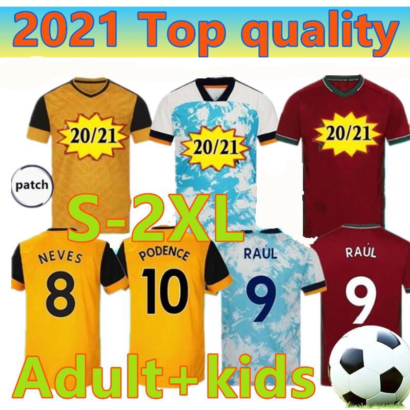 20 21 camisas de futebol Wolves RAUL 2020 2021 ADAMA DIOGO J. Coady NETO Podence DOHERTY J.OTTO camisa casa longe de futebol homens + crianças equipamentos