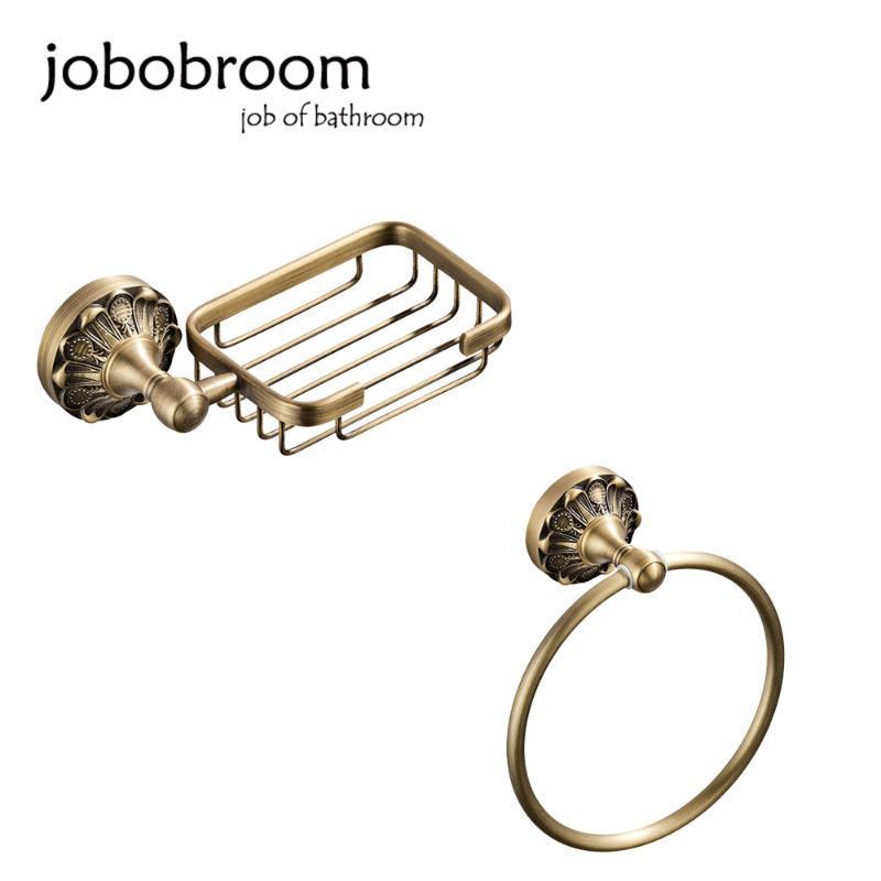 Jobobroom Salle de bain Matériel Set et Old Bronze Color Color Salle de bains Porte-savon monté sur mur et bague de serviette