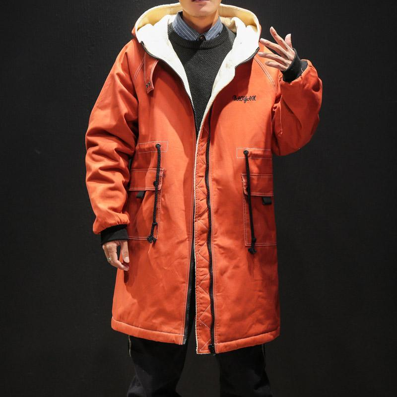 Winter mit Kapuze lange Padded Männer Baumwollfleece Schnee Windjacke Warme Jacke Mens-beiläufige Straße Thick Outwear Hoodies Jacken-Mantel
