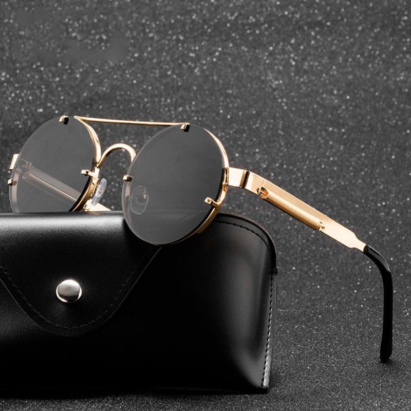 Runde Sonnenbrille Sonnenbrille Marke Design Steampunk Damen Metall Punk Sonnenbrille Vintage Sol Shades Uv400 Eyewear Gafas de Men Fbngr