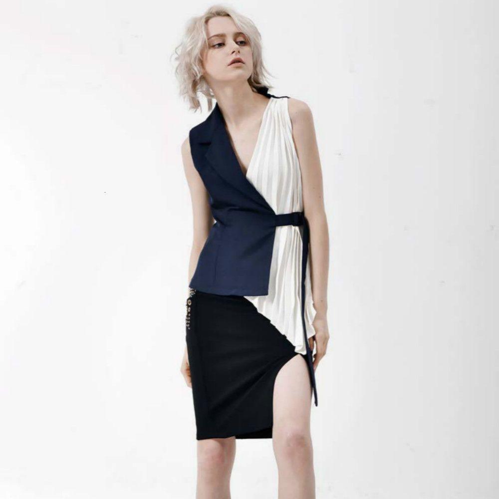 Yeni Kişilik Bluzlar Şifon Kıyılmış 2021 Düzensiz Seksi Tasarımcı Kadın V Yaka Sapanlar Kolsuz Gömlek Yrba