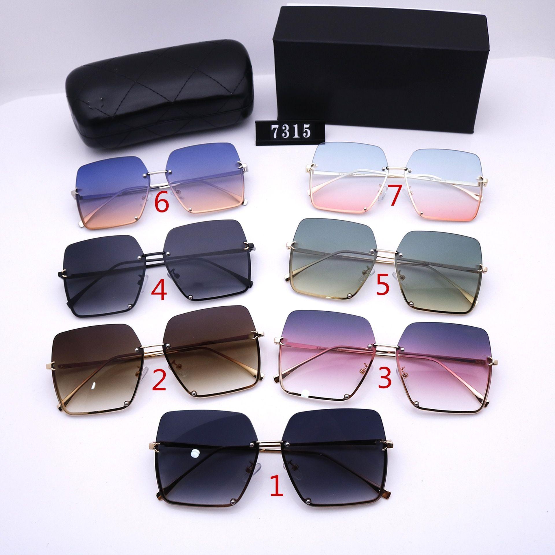 سبعة ألوان النظارات الشمسية نصف إطار للرجال والنساء أزياء كبير ساحة فالوريز تصميم جودة عالية hd الاستقطاب عدسات القيادة نظارات 7315