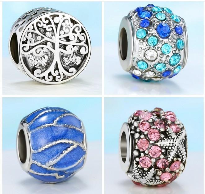 Neue Trendy-Legierung Diamant-Zinken, die tropfende Ölprozess Bäume Shapes 4,3-mm-Löcher-Perlen-Stopper für Pan-Stil-Charms-Armbänder