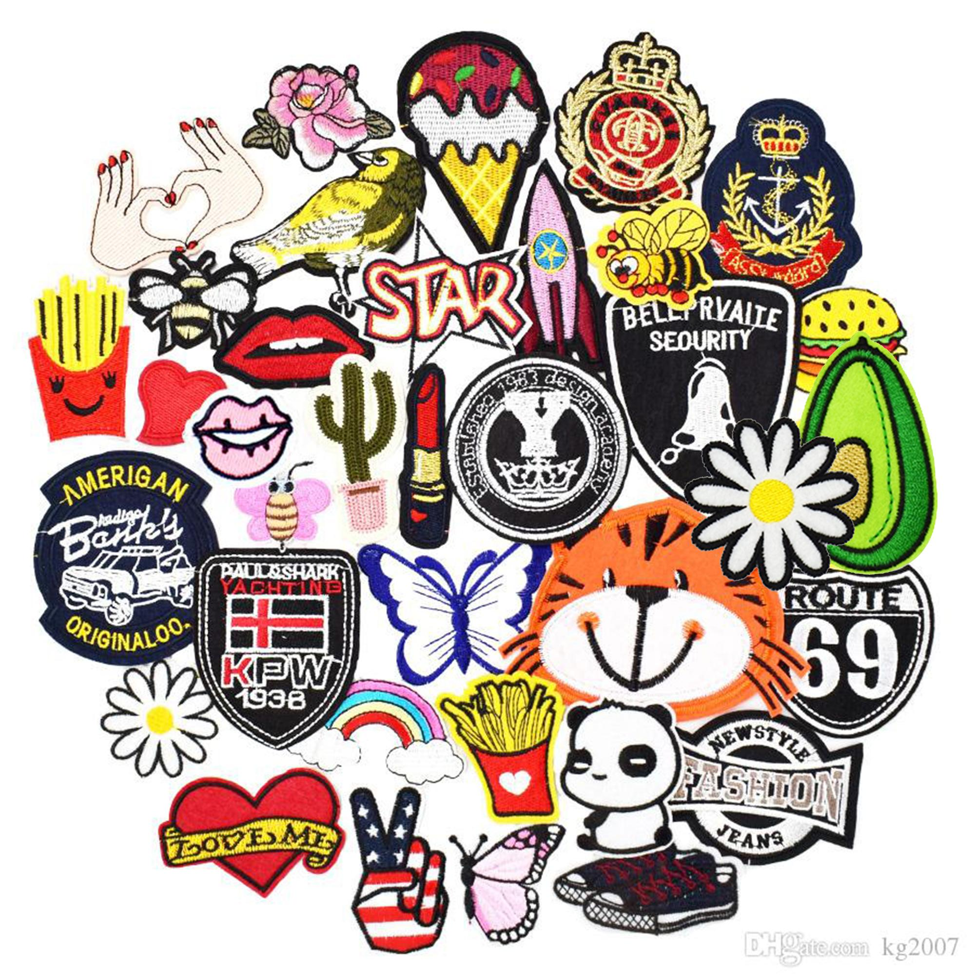 Diy patches for clothing iron embroidered patch applique iron on patches sewing accessories badge stickers for clothes bag 30pcs