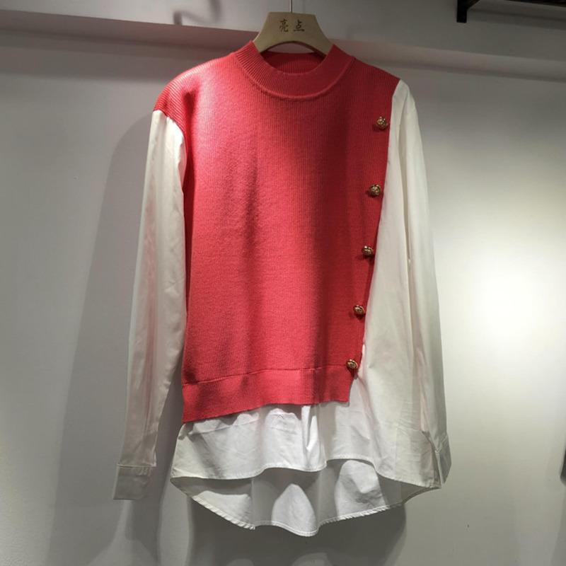 قمصان البلوزات النسائية [EWQ] 2021 spirng الخريف الوقوف طوق خليط متماسكة الكورية نمط شيك عارضة قميص الأزياء الملابس وهمية قطعتين
