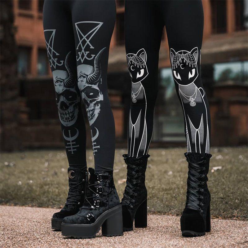 Punk Grunge Gothic Harajuku Pentagagram Данды с длинным рукавом Осень, выладьте на пэчворк Брюкер Винтаж