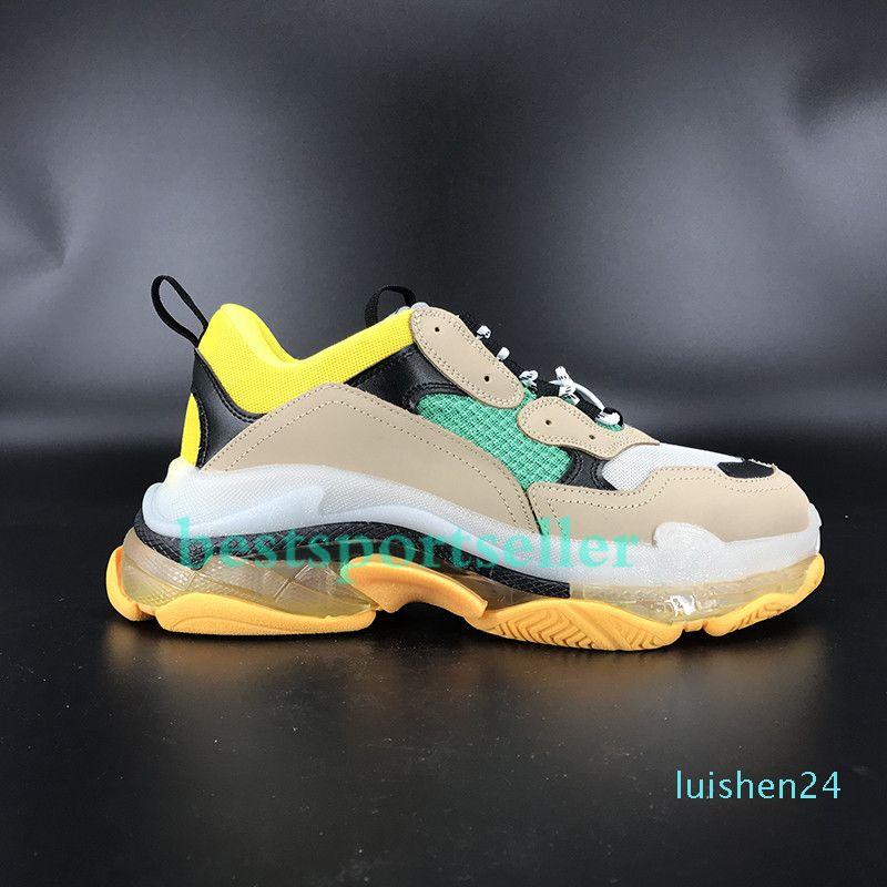 Paires Triple confort semelle transparente Chaussures de plate-forme de vert néon rouge gymnase noir blanc rouge bleu hommes occasionnels chaussures de sport unique arc-en-femmes de shoesl24