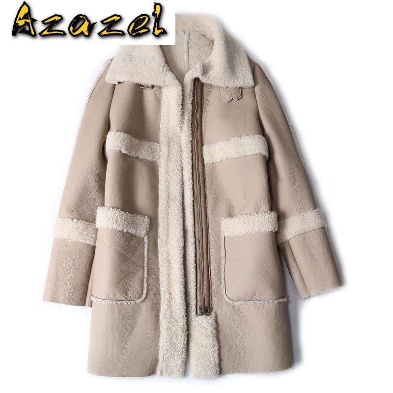 Hakiki Deri Ceket Gerçek Ceket Koyun Kesme Kış Giysileri Kuzu Kürk Palto Ve Ceketler Kadın 2021 KJ5189