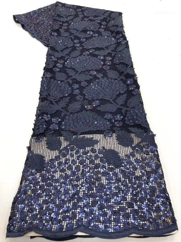 Latest Royal Blue African embroidered tulle fabric 2020 high quality French milk silk lace fabric with 3D sequins in 5 yards1