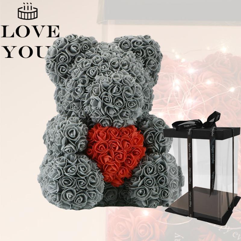 2020 En Iyi DIY Sevgililer Günü Hediyeler 35 cm Siyah Gül Ayı Ile Sıcak Kırmızı Kalp Kız Arkadaşı Karısı Lover Çocuklar Için