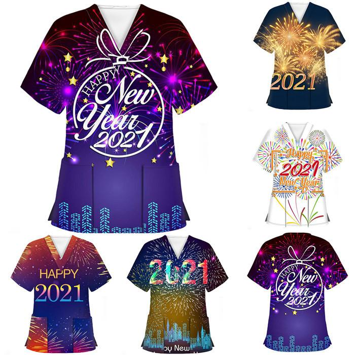 2021 السنة الجديدة النساء الملابس الألعاب النارية نمط الخامس الرقبة ممرضة القمصان عارضة البلوز قصيرة الأكمام النساء الأعلى