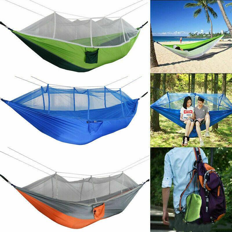 1-2 Kişi Hamak ile Sivrisinek Net Açık Bahçe Kanepe Asılı Yatak Paraşüt Uyku Salıncak Balıkçılık Kampı için Taşınabilir Mobilya