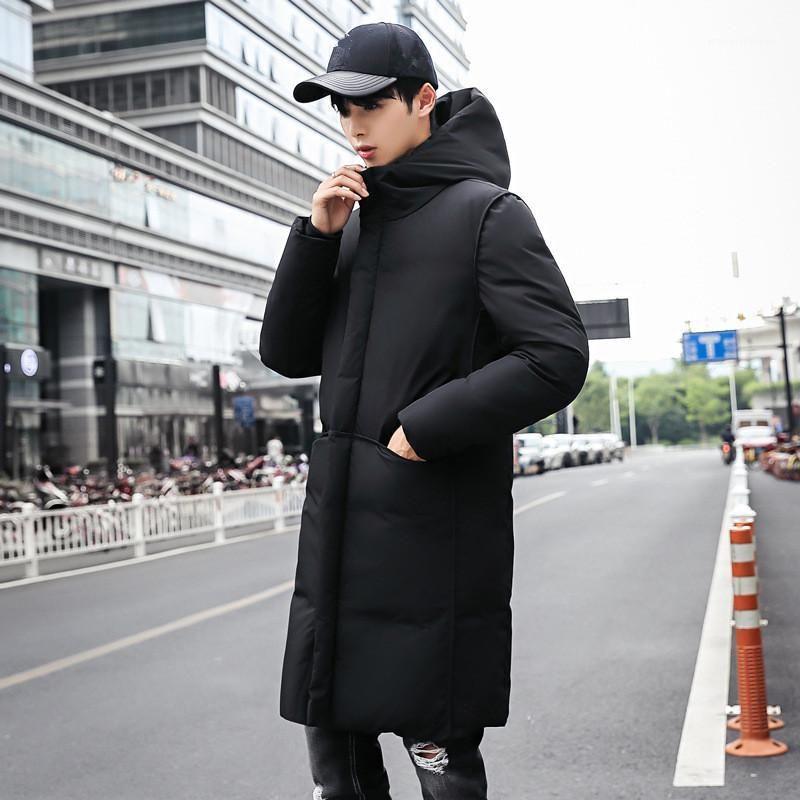 2020 Nuevo Largo Grueso Capa de invierno Hombres Marca Ropa Negro Sólido Sólido Cuerpo con capucha Chaqueta Masculino Calidad Parkas Chaqueta Ropa para hombre1