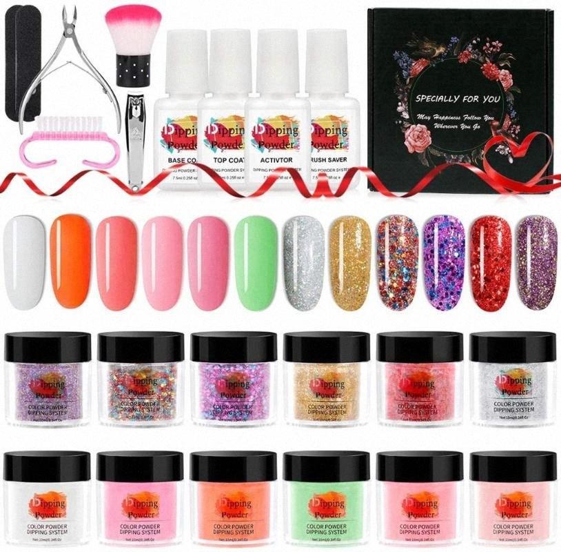 Погружение ногтей порошок Starter Kit 12 цветов Dip Nail порошок без UV / LED лампы с Dust Brush Инструменты Файл Маникюр Bcm8 #