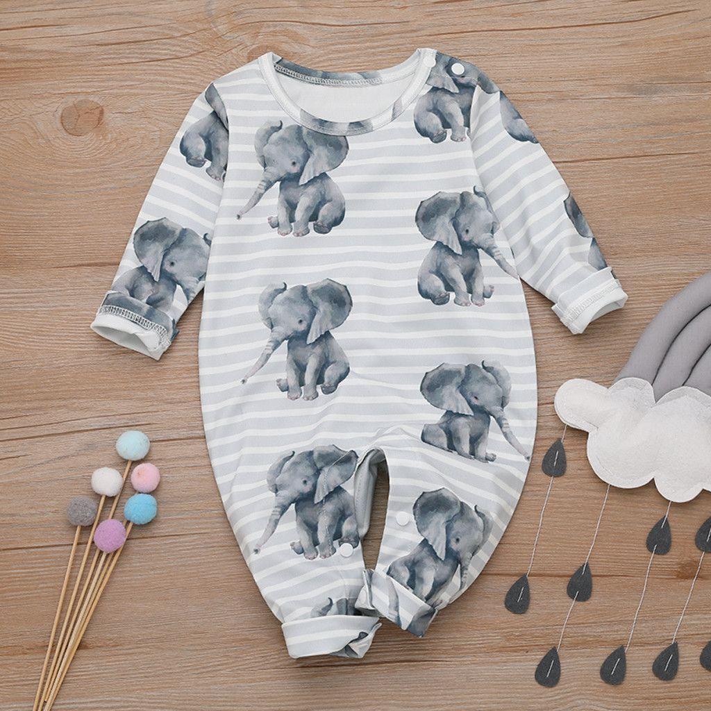 Baby Boy Romper Cartoon Elephant Romper Jumpsuit Combishort Tenues Vêtements tout-petits Boy bébé coton O-neck grenouillère roupa infantil C1108