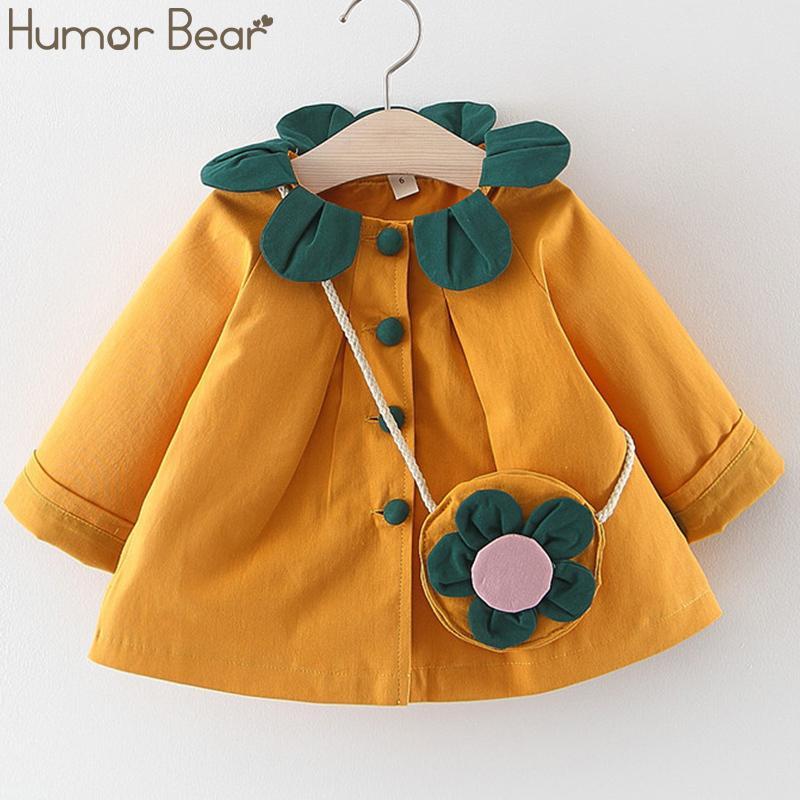 Umorismo Orso 2019 autunno della neonata vestiti Petalo collare bambino maniche lunghe principessa Dress Button Coat + Flower Bag 2Pc bambini Abbigliamento 1026