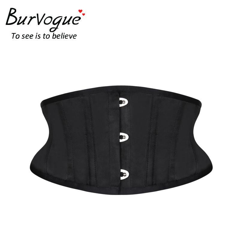 Burvogue Women Corset Underbust 26 Corsetti in raso disossati in acciaio e Bustiers Plus Size Vita Trainer Cintura di controllo per la perdita di peso X0123