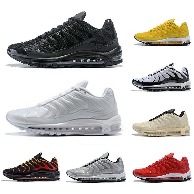 NOUVEAU Mode TN Plus Hommes Femmes Courant Chaussures Triple Noir Jaune Formation en plein air Sports Baskets Zapatos Sneakers 36-46 Designer Unisexe