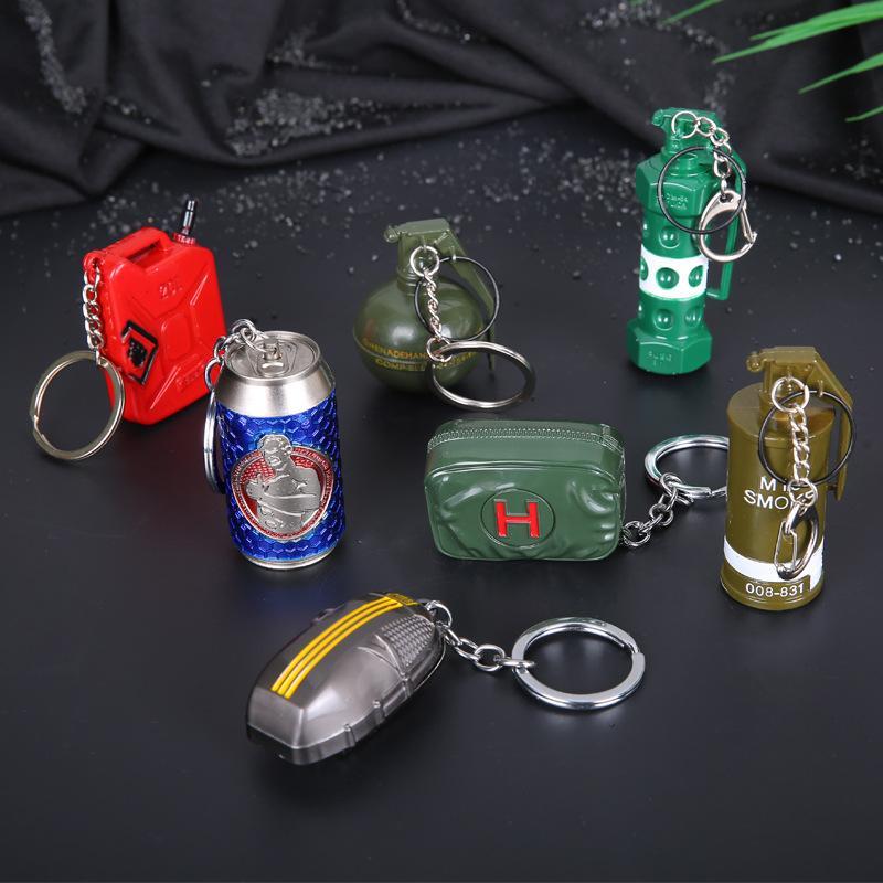 برميل ساحات القتال سلسلة المفاتيح PUBG حلقة المفاتيح الصاعقة قنابل Playerunknown من البنزين مظلة معدنية مفتاح السيارة سلسلة قلادة لعبة أطفال مجوهرات