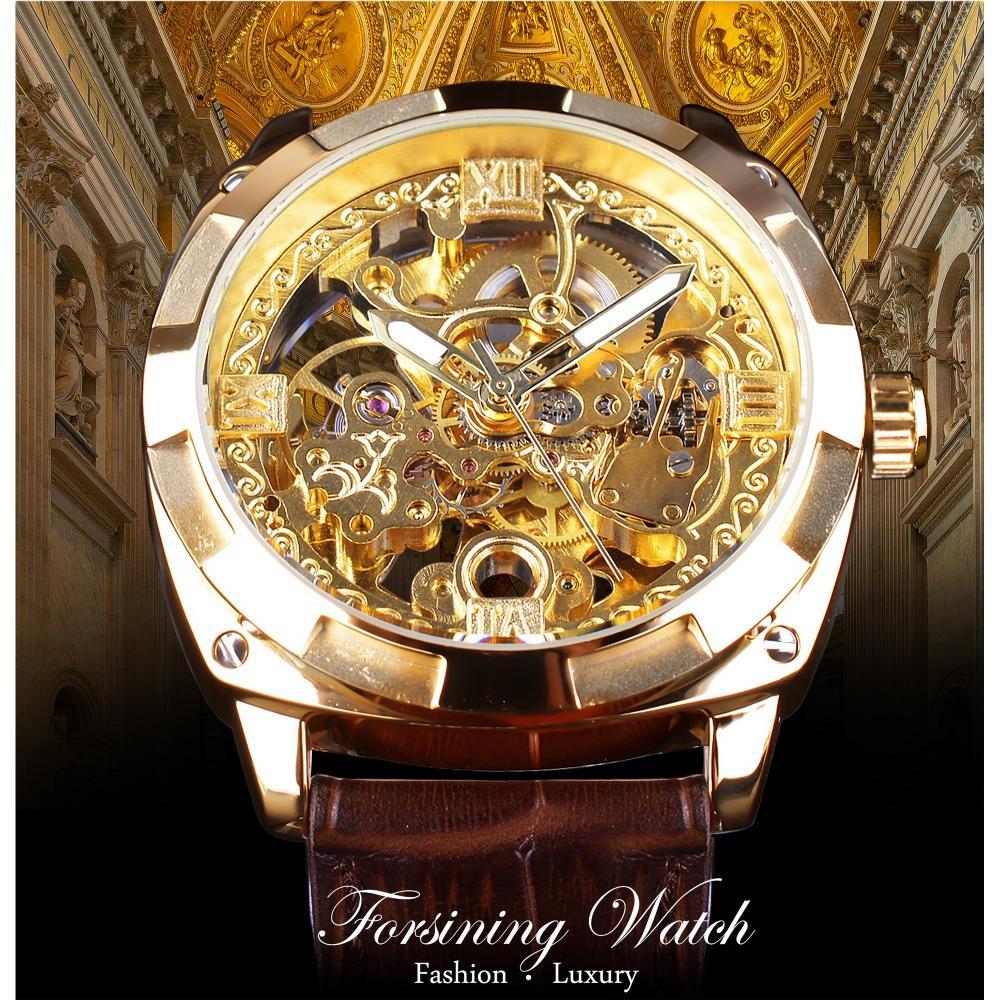Forsining 2018 Royal Golden Flower Transparente Brown Band Band Homens Criativo relógio masculino relógio impermeável mecânico relógio relógio de pulso