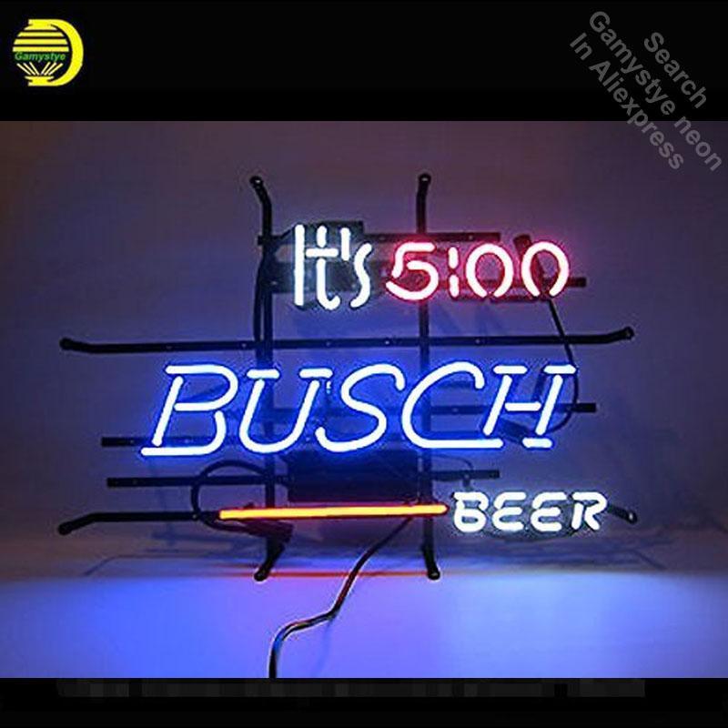Segno al neon per la sua 5 blocco OC Da qualche parte Busch al neon della birra artigianale del tubo segno segni al neon Decora Beer Bar Room Pub Art Lamps