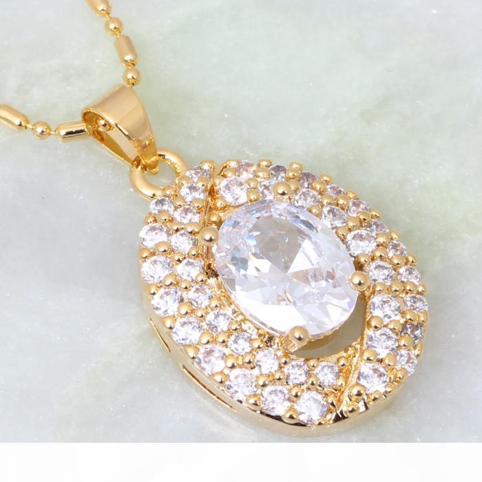 nuovi gioielli topazio 2015 superiore bianco Cubic Zirconia regolano l'oro giallo orecchini di pendente dell'anello 18K placcato per le donne S084