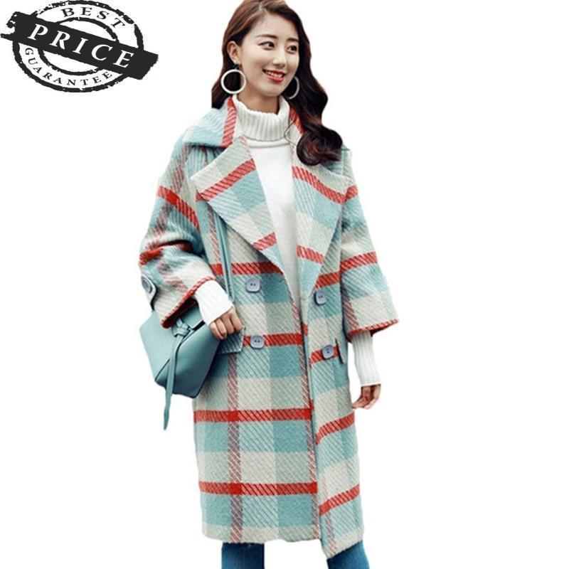 모직 2021 패션 헝겊 격자 무늬 코트 겨울 자켓 여성 양모 여성 여성 파카 긴 캐시미어 느슨한 플러스 크기 겉옷 HF588