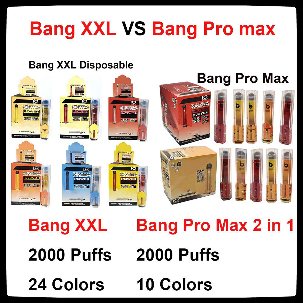 Bang Pro Max Switch Disposable Vape Pen 2 IN 1 Device Bang XXL 7ml Pods 2000 Puffs Bang XXtra Vape Kit