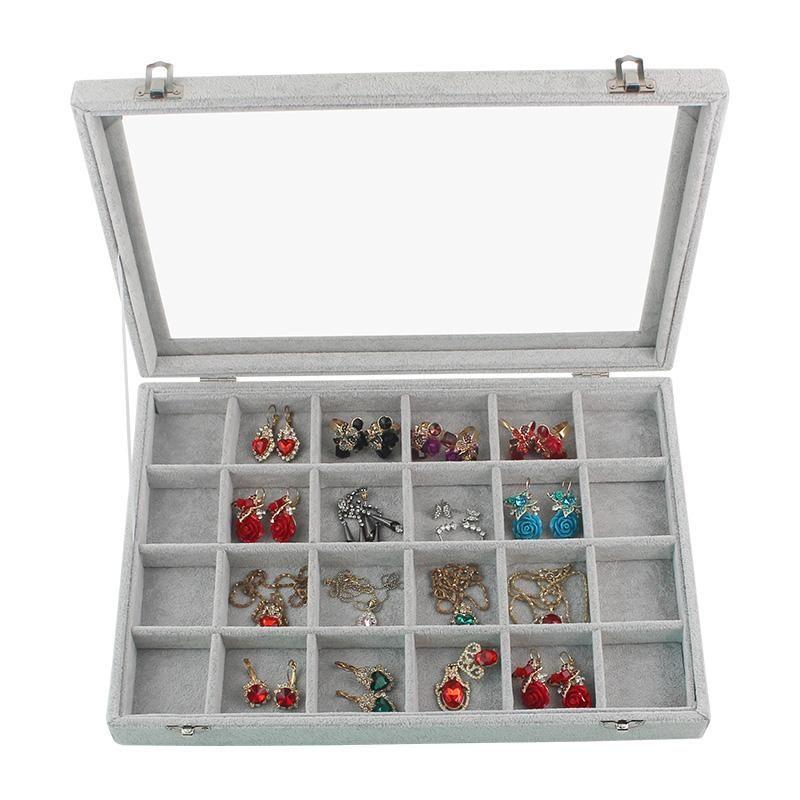 Neue Art-Luxusschmuckschatullen Einzelschichten mit Verschluss Großen Platz Organizer für Ring-Armband-Halskette Samt Schmuckständer