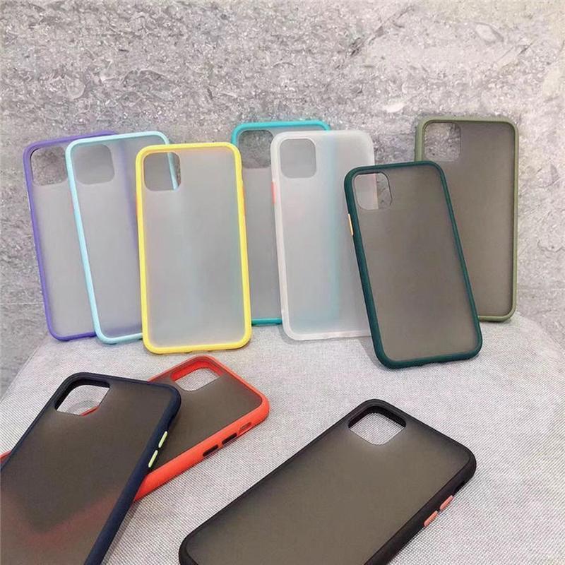 El nuevo caso de teléfono para el iPhone 6 7 8 Plus X 11 12 Contraste del marco del color de los casos dura mate de TPU + PC de protección SAMSUNG MAX X XR XS Max 7 Plus Mini Pro