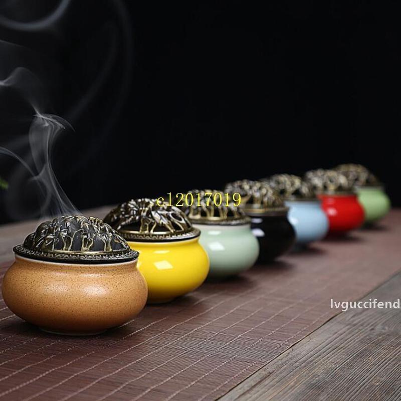 бесплатная доставка Керамической крышка из латуни полы курильница 4 часа пластины конус курильница