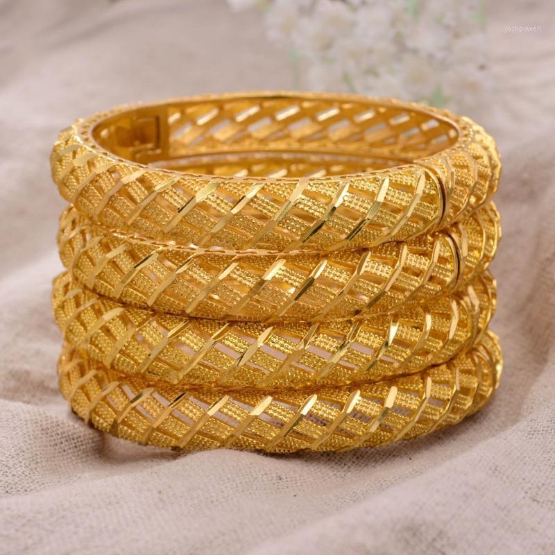 Annayoyo 4pcs / lot 24k Dubai Indien Äthiopien Gold Gefüllte Farbe Armreifen Für Frauen Mädchen Party Schmuck Banglesbracelet Geschenke1