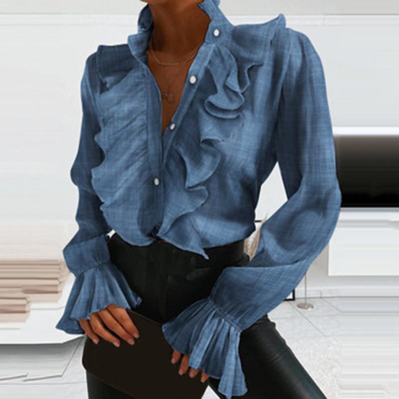 4 Farben Frauen-elegante Rüschen Sexy V-Ausschnitt Buttons Retro Blau Langarm Bluse Shirt Büro-Dame Frühling beiläufiger dünner Tops
