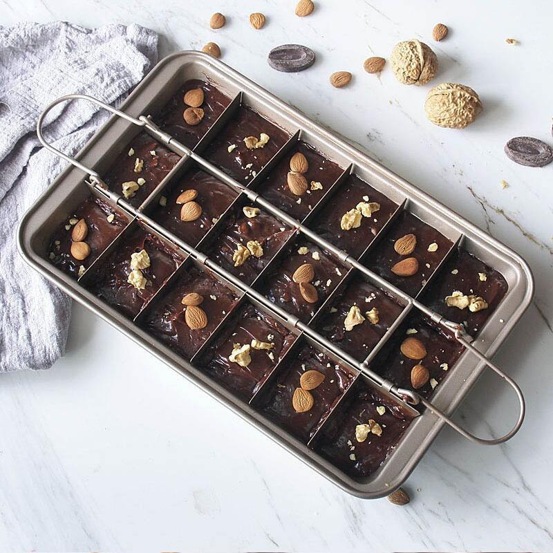 Pişirme Pan Yapışmaz Paslanmaz Çelik Krowie Pişirme Tavalar Yaratıcı Çikolatalı Kek Kalıp Kalın Kare Kafes Kalıpları Bakeware Araçları GWC5207