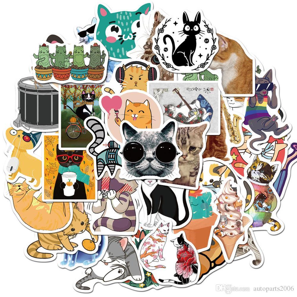 50 PCS / LOT al por mayor Venta al por mayor Historieta linda gato lindo pegatinas para los juguetes para niños Etiqueta impermeable para el cuaderno Patineta Portátil Equipaje Equipaje Calcomanías