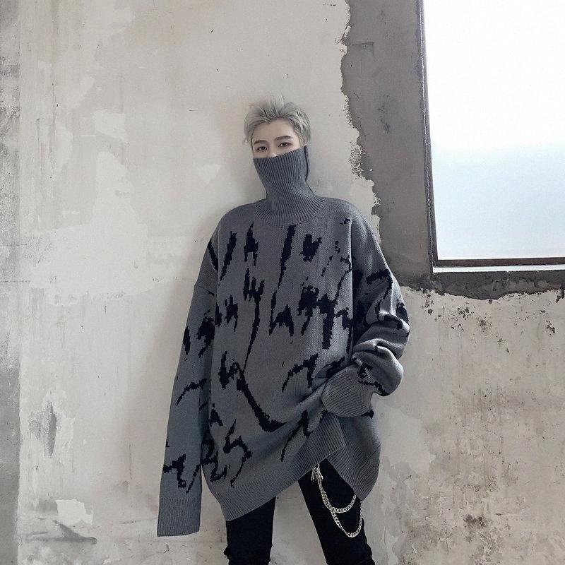 Kış Kalın Triko Erkek Sıcak Moda Günlük Örme Kazak Man Streetwear Vahşi Gevşek Uzun kollu kazak Erkek Giyim 8ytN # yazdır