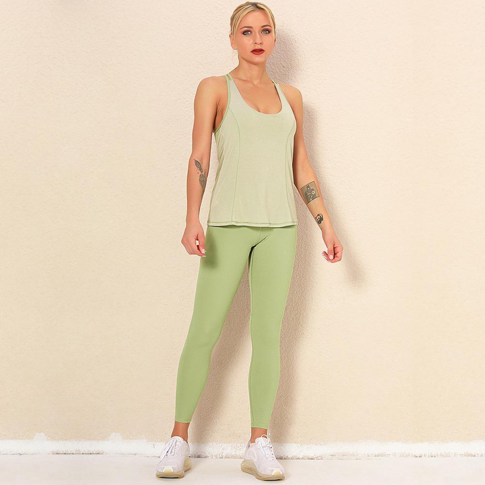 Seamless Green Light Yoga Set Femmes Sport shirs Leggings taille haute Fitness Gym Costumes Buttery Tenues doux Survêtements d'entraînement