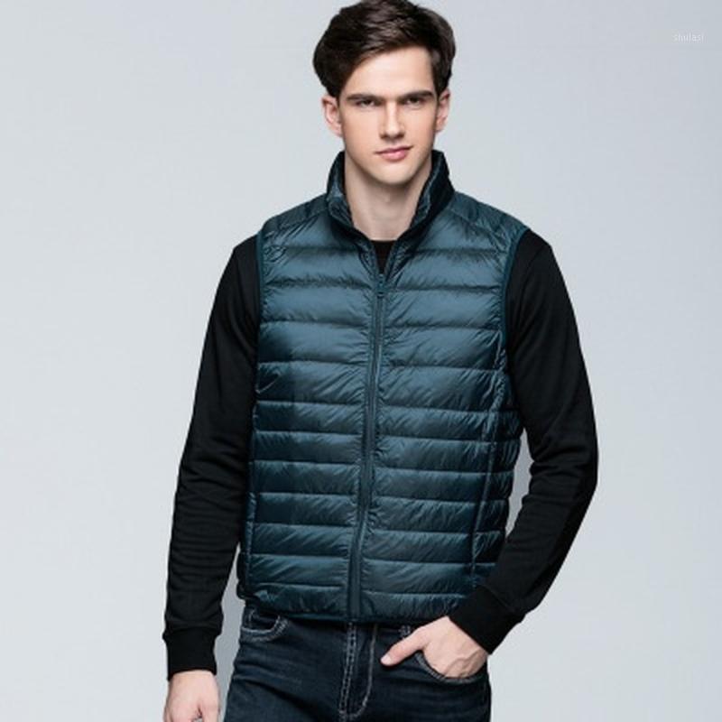 2019 мода мужчины без рукавов куртка зима сверхлегкий белый утка вниз жилет мужской тонкий жилет мужская одежда ветрозащитный теплый жилет 1