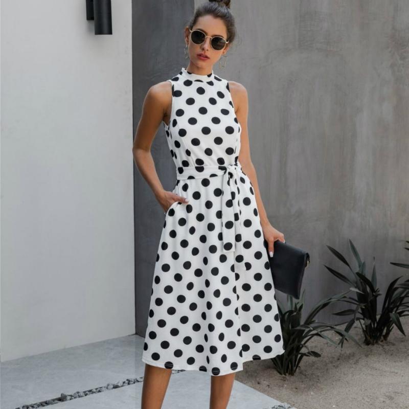 Платье Европы и Америка Show Thin платье 2020 лето Sashion вскользь волновая точка Lace Up темперамент Женского