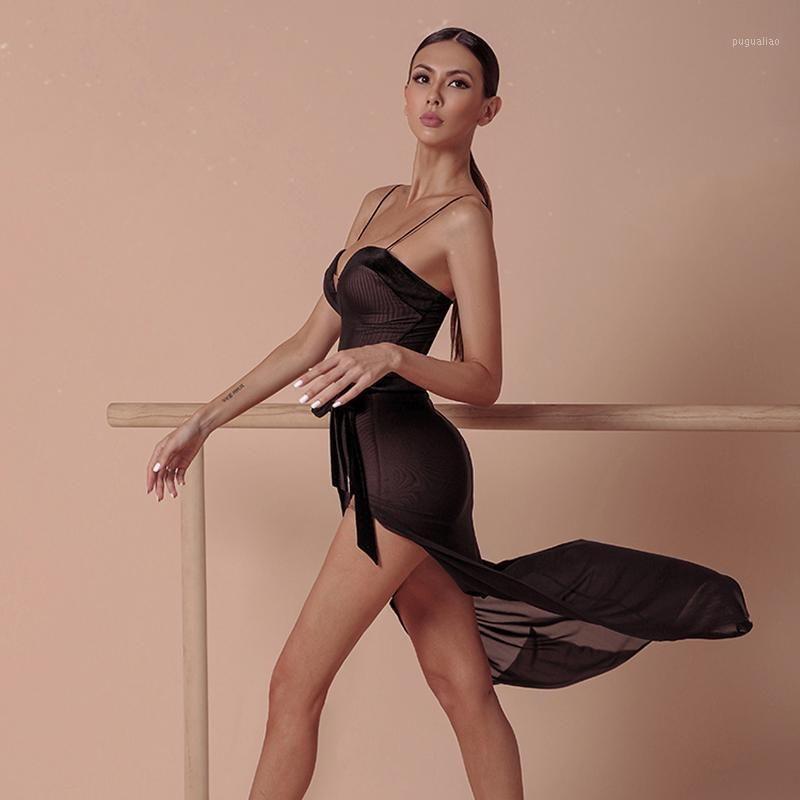 Stage Wear Mesh Dance Latin Dre Abiti per le donne Black Ballroom Abbigliamento Sexy Party Dress SALSA Outfits Designer JL13191