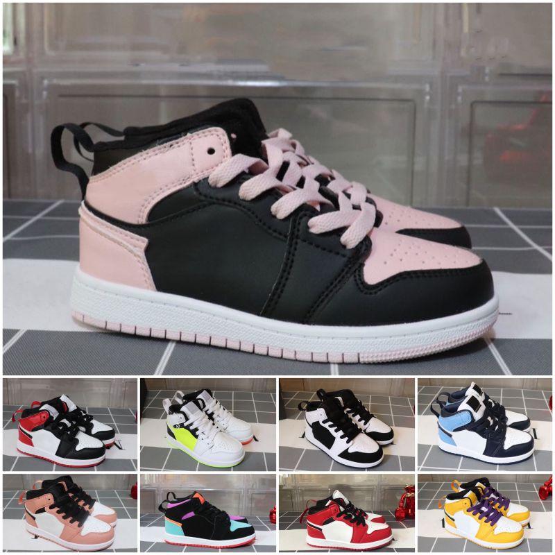 Nike Air Jordan 1 Vente de chaussures chaudes pour enfants OG 1 1s Chaussures de basket-ball Enfants Garçon Fille 1 Top 3 Bred Blanc Rouge Noir Sneakers Taille 26-35