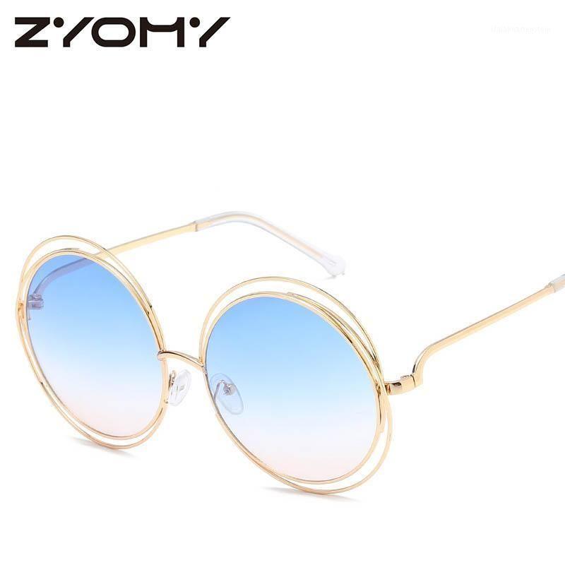 Lunettes de soleil Q 2021 Mode Vintage Femmes Marque Designer Goggles rond Verres de conduite Punk rétro lunettes UV400 Gafas de Sol Mujer1